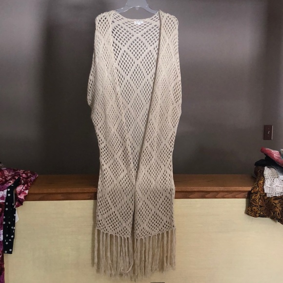 the stars align Other - Draped crochet shawl cover-up, off-white, natural